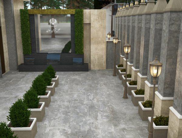 طرح اولیه آبنمای ورودی نمایندگان ساختمان مجلس شورای اسلامی