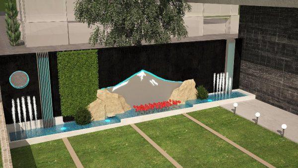 طراحی آبنمای دیواری مجتمع تجاری البرز